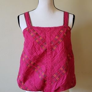 Flying Tomato Magenta Embroidered Tank Top